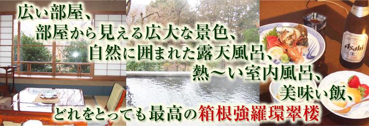 広い部屋、部屋から見える広大な景色、自然に囲まれた露天風呂、熱〜い室内風呂、美味い飯、どれをとっても最高の箱根強羅環翠楼